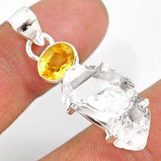 15.36cts natural white herkimer diamond citrine 925 silver pendant r87784