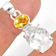11.15cts natural white herkimer diamond citrine 925 silver pendant r87788