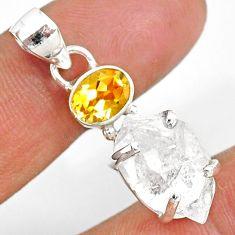 10.48cts natural white herkimer diamond citrine 925 silver pendant r87791