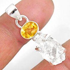 11.65cts natural white herkimer diamond citrine 925 silver pendant r87796
