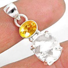 12.71cts natural white herkimer diamond citrine 925 silver pendant r87810