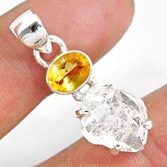 10.11cts natural white herkimer diamond citrine 925 silver pendant r87819