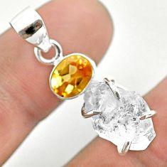 9.65cts natural white herkimer diamond citrine 925 silver pendant t50101