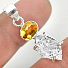 9.26cts natural white herkimer diamond citrine 925 silver pendant t50104