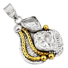 Clearance Sale- 13.84cts natural white herkimer diamond fancy 925 silver 14k gold pendant d39154