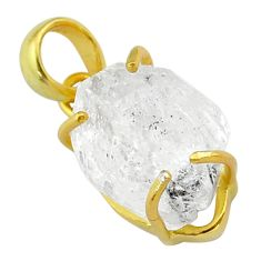13.08cts natural white herkimer diamond fancy 925 silver 14k gold pendant t49580