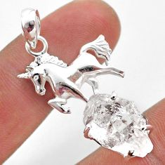 8.76cts natural white herkimer diamond fancy 925 silver horse pendant t49048