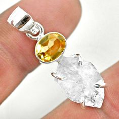 10.63cts natural white herkimer diamond fancy citrine 925 silver pendant t50106