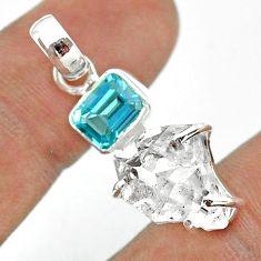 12.19cts natural white herkimer diamond fancy topaz 925 silver pendant t49489