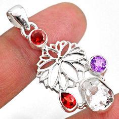 10.31cts natural white herkimer diamond garnet 925 silver flower pendant r61306
