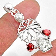 10.31cts natural white herkimer diamond garnet 925 silver flower pendant r61309