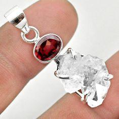 11.73cts natural white herkimer diamond garnet 925 silver pendant t50088
