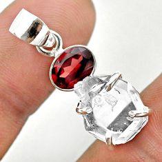 9.18cts natural white herkimer diamond garnet 925 sterling silver pendant t50137