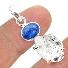 12.19cts natural white herkimer diamond kyanite 925 silver pendant t49522