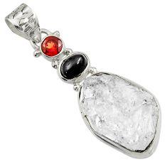 23.46cts natural white herkimer diamond obsidian eye 925 silver pendant d44961