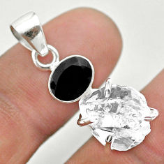 10.25cts natural white herkimer diamond onyx 925 sterling silver pendant t50129