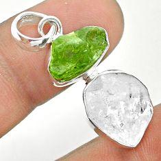 11.07cts natural white herkimer diamond peridot raw 925 silver pendant t49164