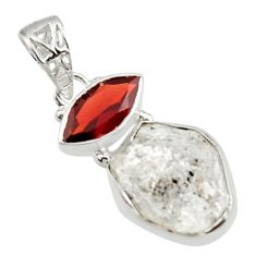 12.10cts natural white herkimer diamond red garnet 925 silver pendant r30091