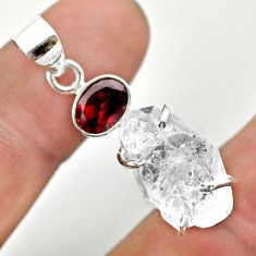 14.27cts natural white herkimer diamond red garnet 925 silver pendant t50139