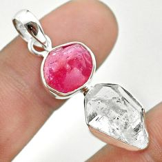 12.05cts natural white herkimer diamond ruby raw 925 silver pendant t49185