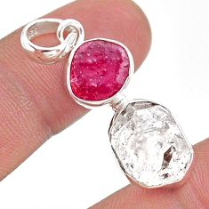 10.32cts natural white herkimer diamond ruby raw 925 silver pendant t49281