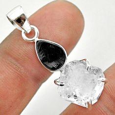 11.21cts natural white herkimer diamond shungite 925 silver pendant t50074