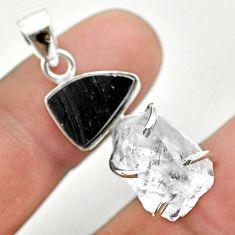 12.55cts natural white herkimer diamond shungite 925 silver pendant t50093