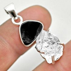 12.66cts natural white herkimer diamond shungite 925 silver pendant t50099