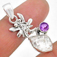 7.00cts natural white herkimer diamond silver angel wings fairy pendant r61407