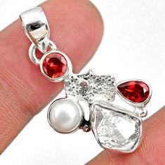 8.84cts natural white herkimer diamond silver hand of god hamsa pendant r61321