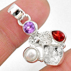 8.56cts natural white herkimer diamond silver hand of god hamsa pendant r61322