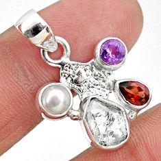 8.24cts natural white herkimer diamond silver hand of god hamsa pendant r61326