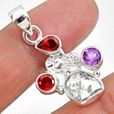 9.16cts natural white herkimer diamond silver hand of god hamsa pendant r61330
