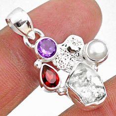 9.18cts natural white herkimer diamond silver hand of god hamsa pendant r61334