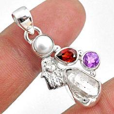 9.61cts natural white herkimer diamond silver hand of god hamsa pendant r61339