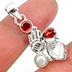 9.61cts natural white herkimer diamond silver hand of god hamsa pendant r61371