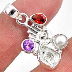9.61cts natural white herkimer diamond silver hand of god hamsa pendant r61372