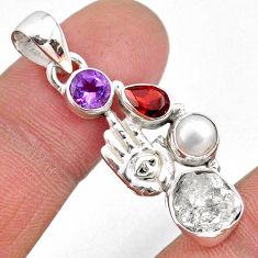 9.61cts natural white herkimer diamond silver hand of god hamsa pendant r61402