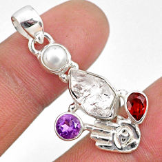 10.02cts natural white herkimer diamond silver hand of god hamsa pendant r61403