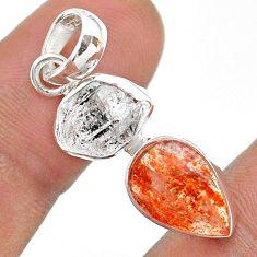 8.00cts natural white herkimer diamond sunstone pear 925 silver pendant t49468