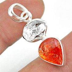 8.90cts natural white herkimer diamond sunstone pear 925 silver pendant t49472