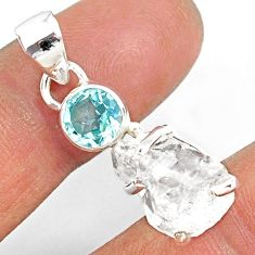 11.65cts natural white herkimer diamond topaz 925 sterling silver pendant r87762