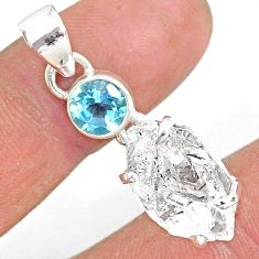 13.08cts natural white herkimer diamond topaz 925 sterling silver pendant r87764