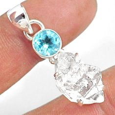 12.19cts natural white herkimer diamond topaz 925 sterling silver pendant r87765