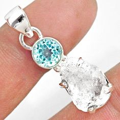 11.08cts natural white herkimer diamond topaz 925 sterling silver pendant r87768