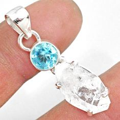 11.08cts natural white herkimer diamond topaz 925 sterling silver pendant r87771