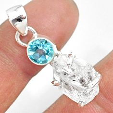 13.08cts natural white herkimer diamond topaz 925 sterling silver pendant r87772