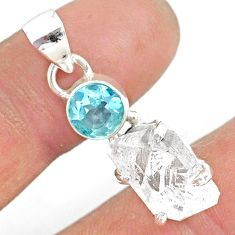 11.65cts natural white herkimer diamond topaz 925 sterling silver pendant r87778