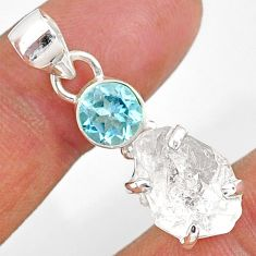11.08cts natural white herkimer diamond topaz 925 sterling silver pendant r87783