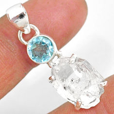 11.05cts natural white herkimer diamond topaz 925 sterling silver pendant r87786